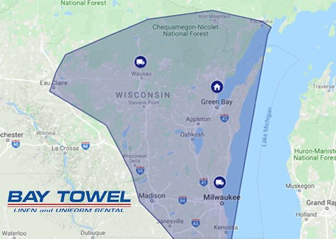 Service Area Map for Bay Towel