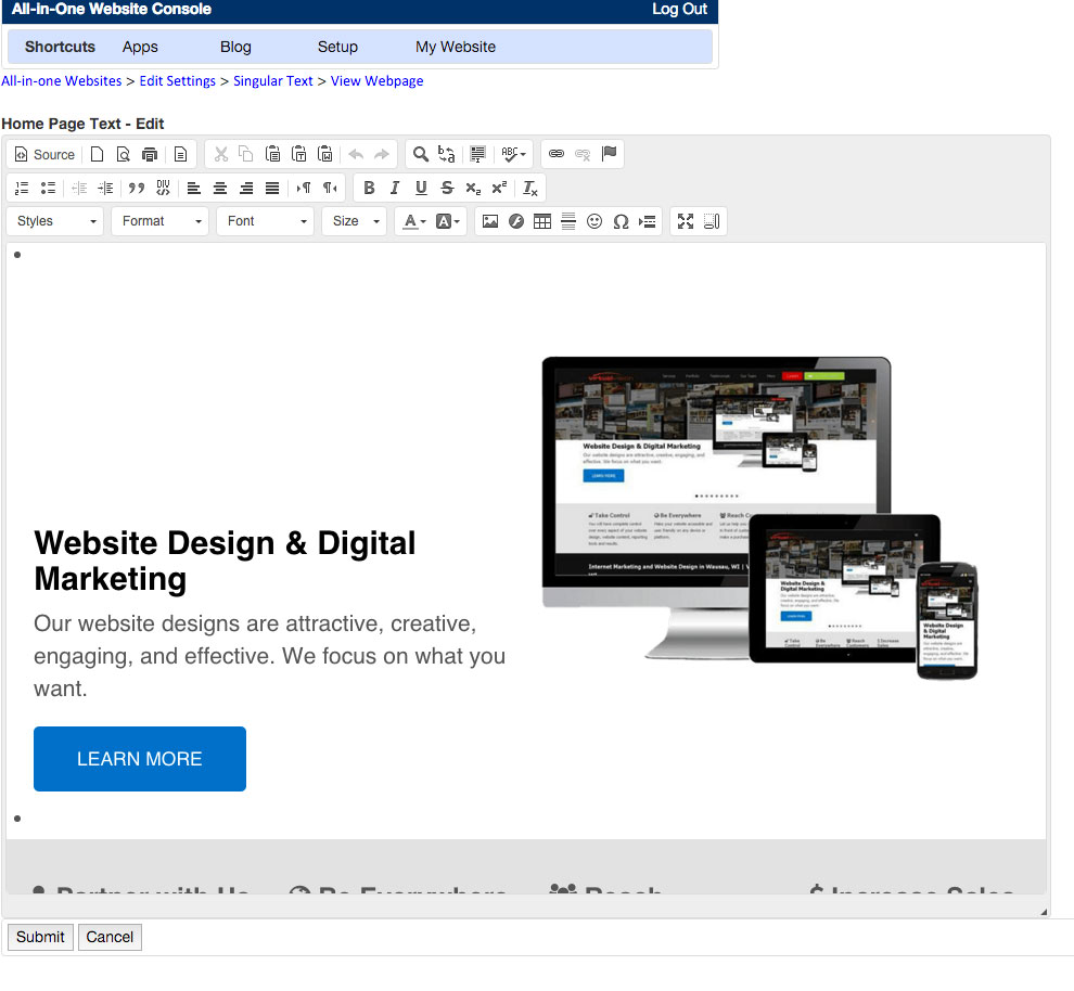how to edit your home page