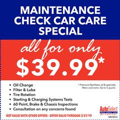 Don't miss out! Best Repair & Tire Coupons at any Auto Select Location!