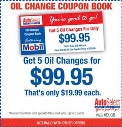 Save! Get 5 Oil Changes for $99.95 - That's only $19.99 each!