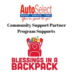 Auto Selects Community Support Partner Program supports Blessings in a Backpack