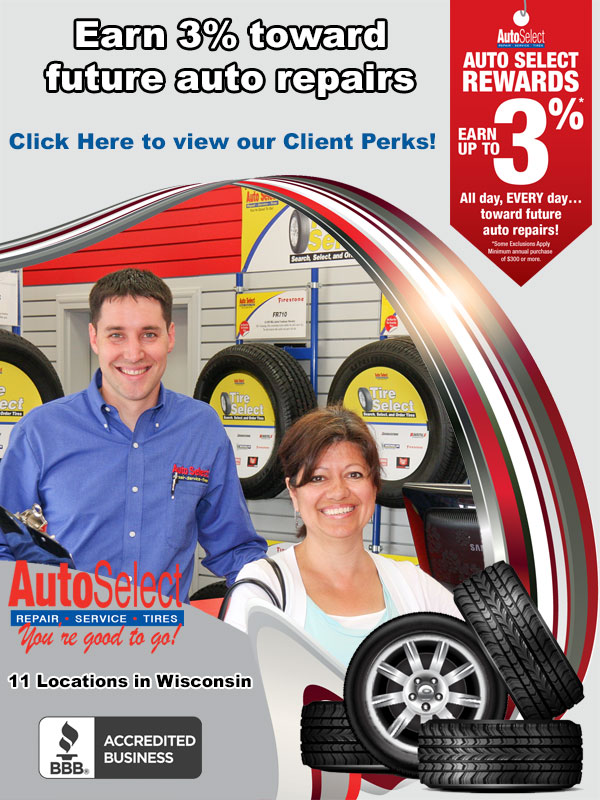 Up to 3% of Every Repair and Service to Spend on Future Repairs at all Auto Select Locations!
