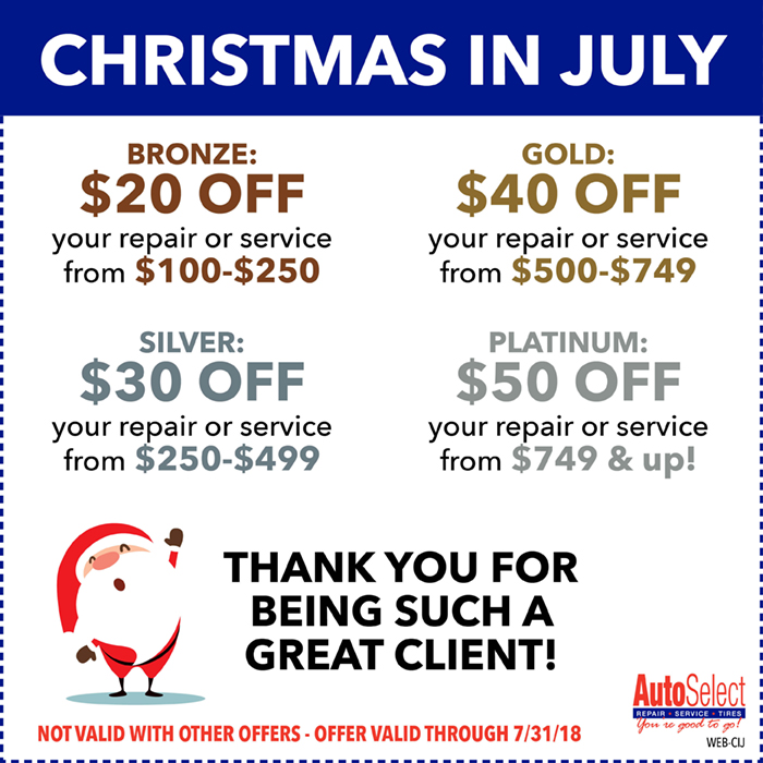 Don't wait! Local Auto Repair Specials at all Auto Select Locations!