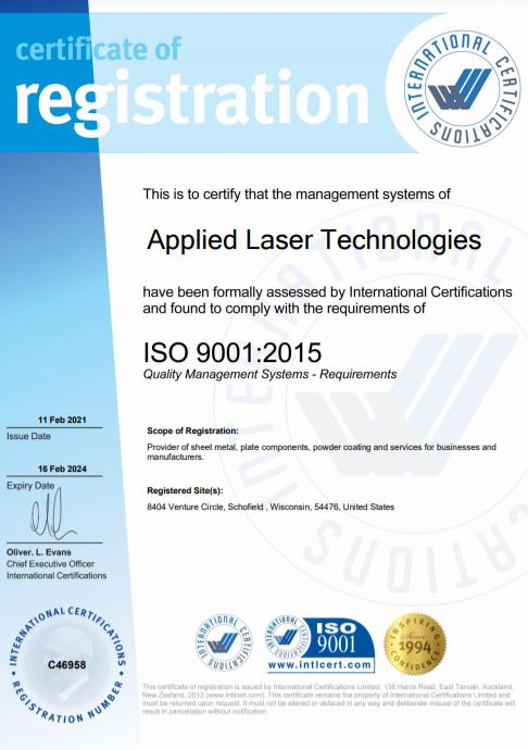 Applied Laser Technologies is an ISO:9001:2015 quality certified sheet metal fabricator.