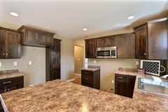 Mocha, Kitchen, Cabinetry, Countertop