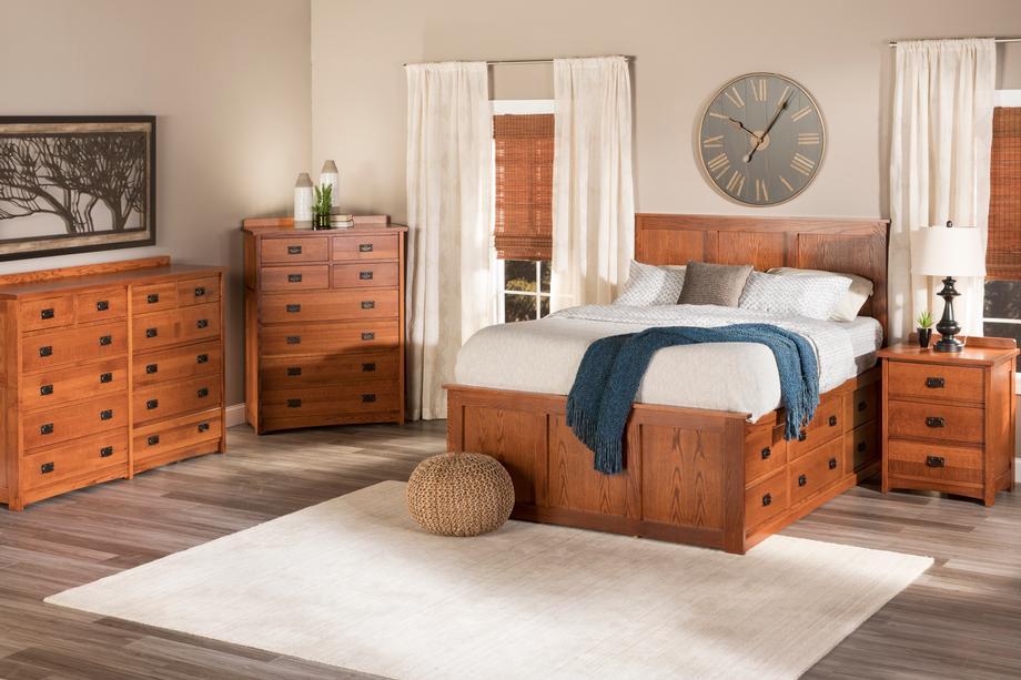 American Mission Slat Bed in Quarter Sawn Oak Color #13